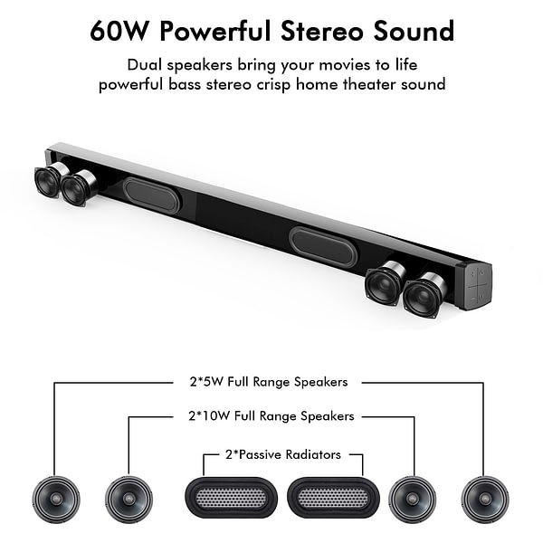 Soundage 60W Wired and Wireless Bluetooth Soundbar Power Stereo Surround Home Theater Sound Bar with Remote Control