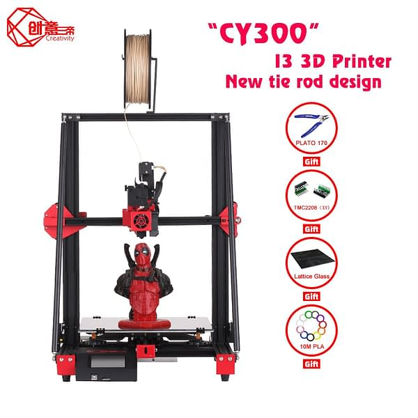 Creativity CY300 FDM 3D printer kit double lever supports automatic leveling 0.4mm nozzle print size 300x300x400 TMV2208 drive