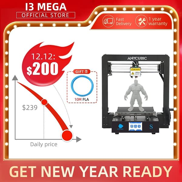 3D Printer Mega S Metal Frame New Extruder Touch Screen Anycubic I3 Mega Upgrade DIY Kit With Heatbed Print Flexible Filament