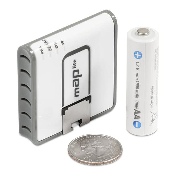 Mikrotik RBmAPL-2nD mAP lite Tiny size 2.4GHz Dual Chain access point with a 650MHz CPU, 64MB RAM and one Ethernet