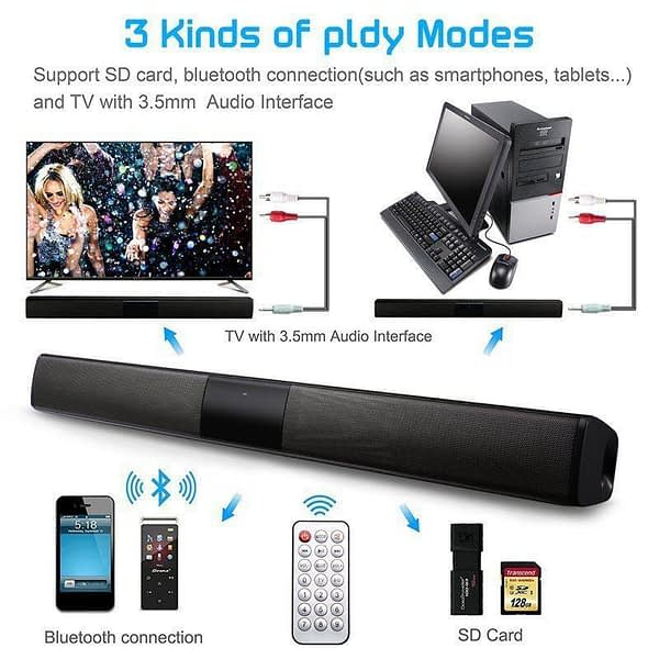Multipurpose bluetooth speaker Stereo Sound bar for tv Family Speaker Wireless blutooth speaker Support Remote Control Operation