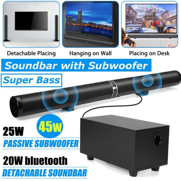 """45W 80cm 31.5"""" Soundbar with Subwoofer HiFi Detachable Wireless bluetooth Speaker 3D Surround Stereo for TV Home Theatre System"""