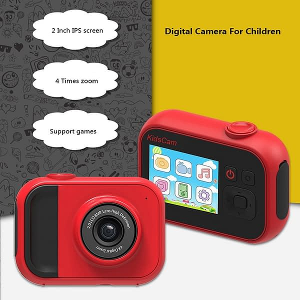 1080P High-Resolution LCD Screen Video Camcorder 4x Zoom Kids Camera USB Rechargeable Outdoor Photography Children's Camera