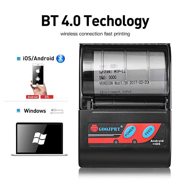 MTP-2 58mm Mini bluetooth Themal Printer Portable Wireless Thermal Receipt Printer Suitable For Android iOS Windows