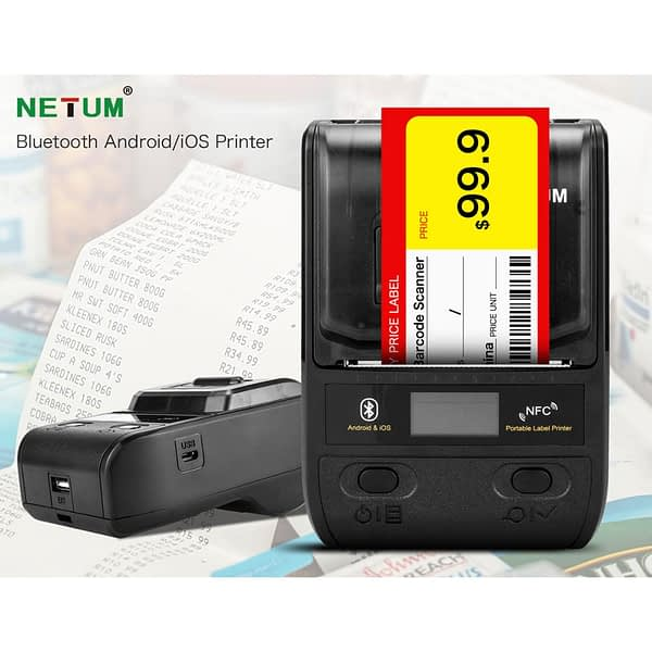 NETUM 58mm Label Maker Portable 80mm Bluetooth Thermal Label Printer with Rechargeable Battery Compatible Android iOS