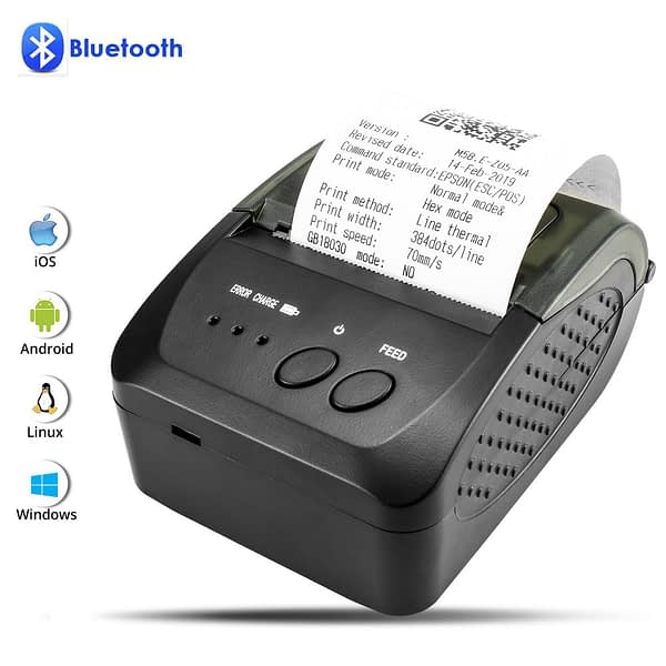 NETUM 58mm Bluetooth Thermal Receipt Printer with Paper Carry Case hang on waist for Android IOS Iphone ipad ESC/POS NT-1809DD