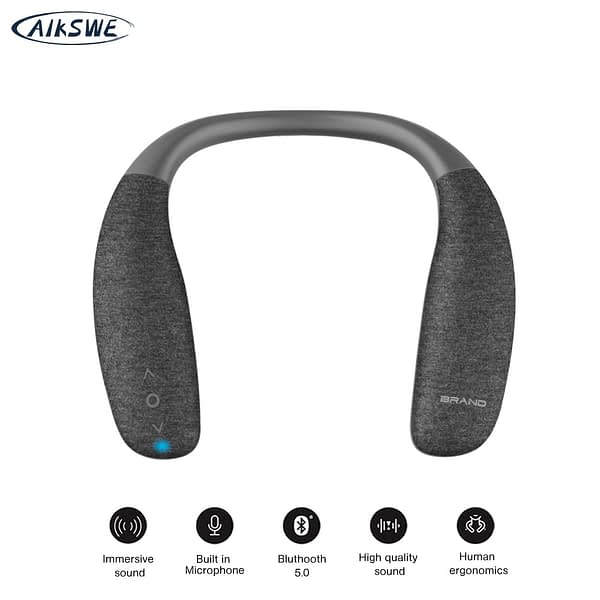AIKSWE Neck Bluetooth Speaker Surround sound wireless speaker bluetooth 5.0 with Bass HD Voice button with microphone For Game