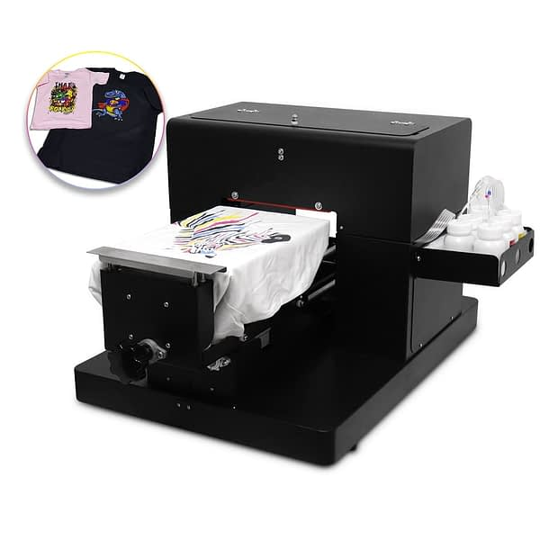 DTG Printer A4 Size 6 Colors Direct to Garment T-Shirt Flatbed Printing Machine for Dark and Light Clothes High Quality