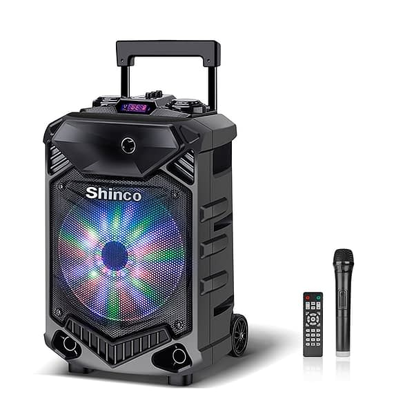 Shinco Bluetooth Speaker System DJ Light Speakers with High Power Column 12-inch Woofer Portable Karaoke Speaker with Microphone