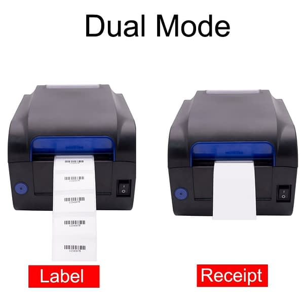 2 In 1 Label Barcode Printer Thermal Receipt Printer Bar Code QR Code Adhesive Sticker Paper Support Mobile Android iOS Phone