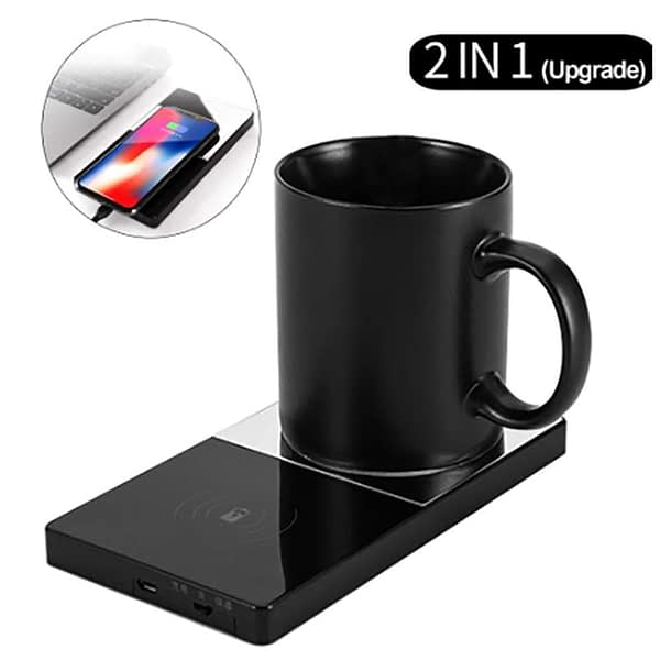 2 In 1 multifunctional Heating Mug Cup Warmer Electric 10W Wireless Charger Phone Charging Pad Mirror for Home Office Coffee