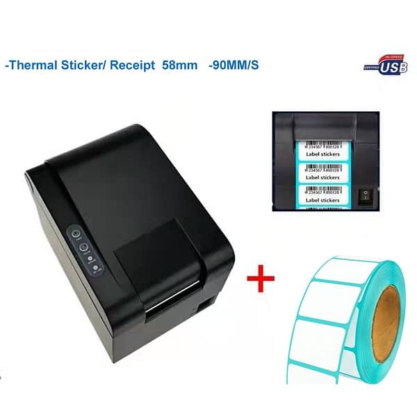 New arrive high quality barcode printer sticker printer Qr code the non-drying label printer can print paper width 20-58mm