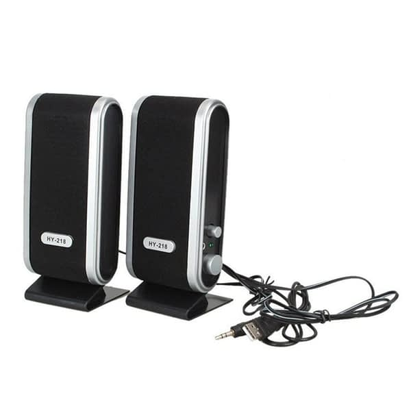 2 Pcs USB Power Computer Speakers Stereo 3.5mm with Ear Jack for Desktop PC Laptop Stereo-Sound Music Player