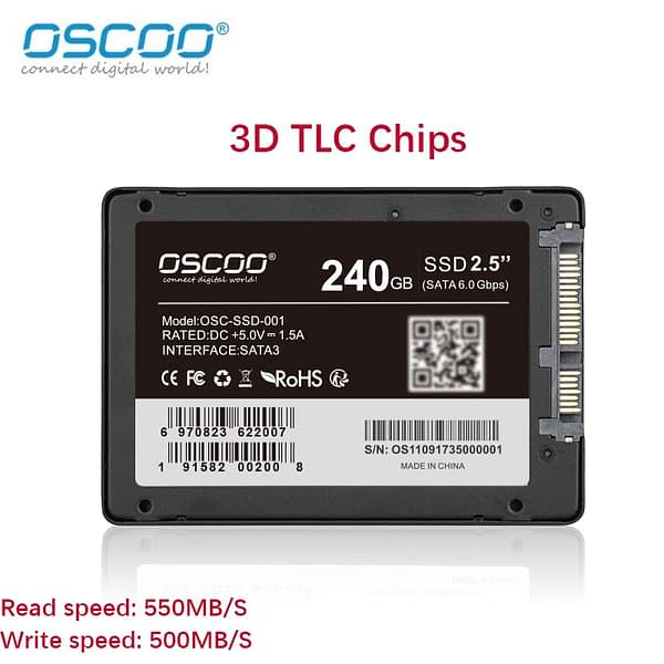 Oscoo 2.5 Inches Sata SSD Hard Disk For Desktop Laptop 60GB 120GB 240GB 3D TLC Chips 2258XT Controllor