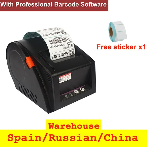 With Professional Barcode Software 3 inch Thermal Barcode Printer Label Printer no need ink 20mm to 80mm
