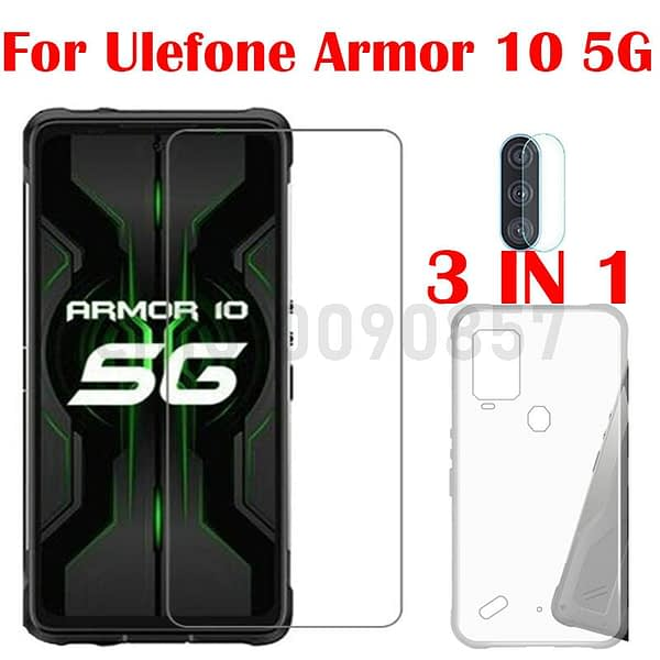 3-in-1 Case + Camera Tempered Glass On For Ulefone Armor 10 5G ScreenProtector Glass For Ulefone Armor 10 5G 2.5D Glass