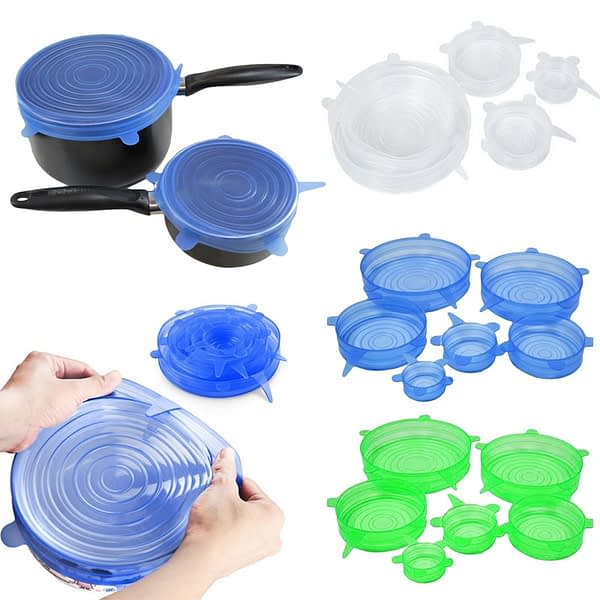 6 Pcs/Set Food Silicone Cover Universal Silicone Lids For Cookware Bowl Pot Lid Reusable Stretch Lids Wrap Kitchen Accessories