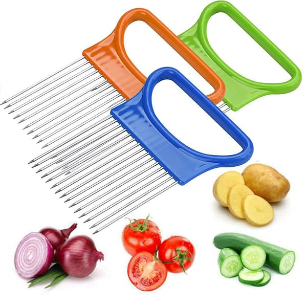 2021 New Household Items Tomato Onion Vegetables Slicer Cutting Aid Holder Guide Slicing Cutter Safe Fork Useful Для Дома