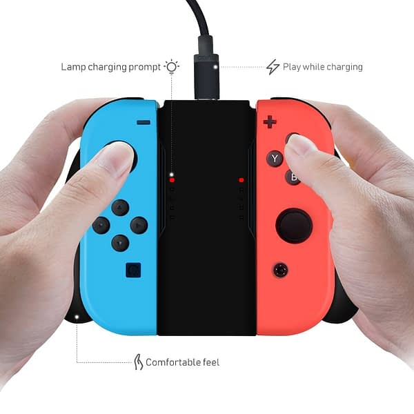 DATA FROG Grip Handle Charging Dock Station Charger Chargeable Stand for Nintendo Switch Joy-Con NS Handle controller Charger