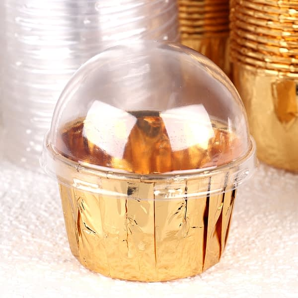 100 Small Cake Cup Lids Clear Plastic Arch Lid Covers Aluminum Foil Baking Cup Caps DIY Cupcake Wrapper Holder Cover Pastry Tool