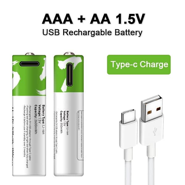 NEW AA + AAA battery AA 1.5V 2600mWh/1.5V AAA 550mWh Usb rechargeable li-ion batteries for Electric toy battery + Cable