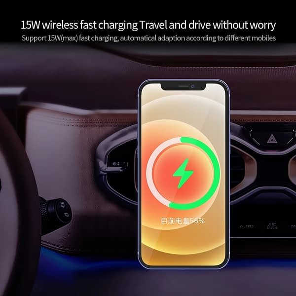 15W New Magnetic Wireless Car Charger Magnetic Wireless Charger Holder For Phone Fast Charging Wireless Car Phone Holde