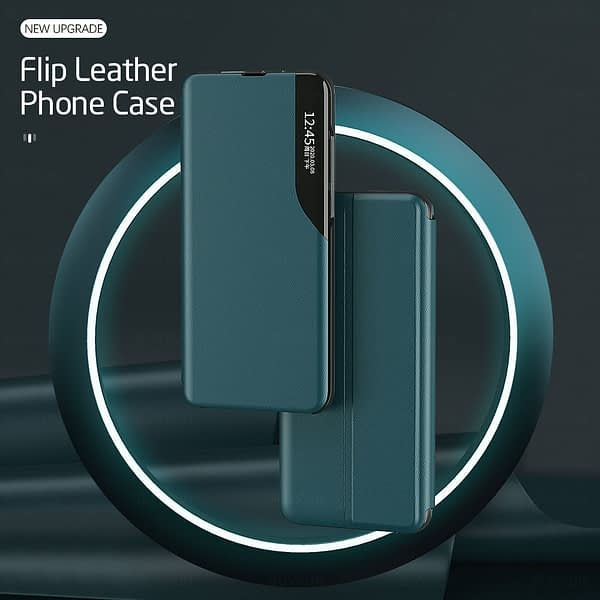 a12 case pu leather smart window view magnetic flip covers case for samsung galaxy a12 a 12 sm-a125f/dsn 6.5'' book stand coque