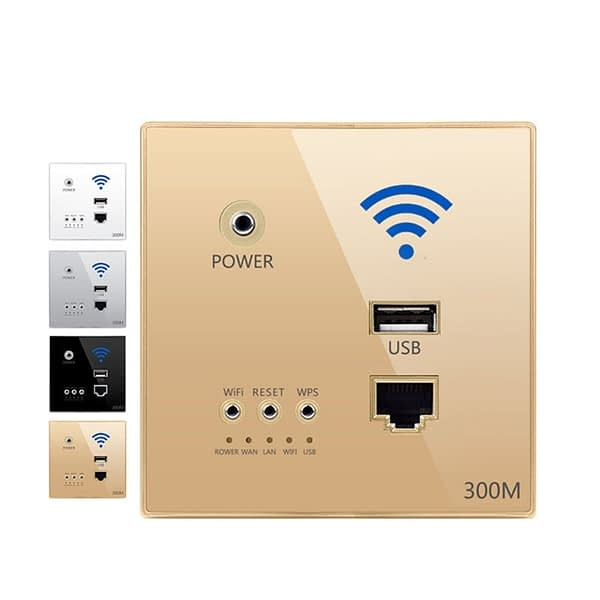 300M Transmission Rate Wireless WIFI Wall Embedded Router USB Charging Socket WiFi Repeater