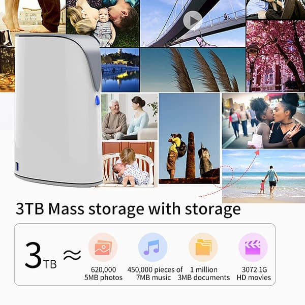 SSK 3.5 Inch 3TB NAS Wireless Smart Hard Disk Family Cloud Hard Drive Smart External Hard Drive for Phone Laptop Tablet