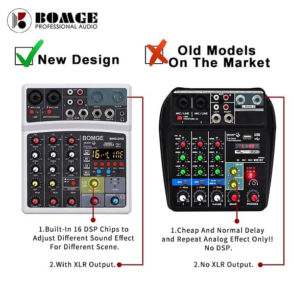 4 Channels Audio Sound Mixer Mixing DJ Console USB with 48V Phantom Power 16 DSP Effects