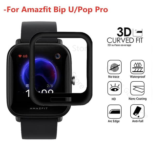 1-2Pcs 3D Curved Edge Film for Huami Amazfit Bip U/Pop Pro HD Soft Full Cover Screen Protector for Amazfit Bip U Protective film