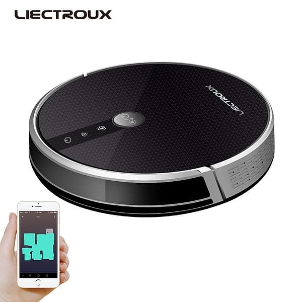 LIECTROUX Robotic Vacuum Cleaner C30B, 4000Pa Suction,2D Map Navigation,Memory, Map Shown on WiFi App,350ml Electric Water Tank