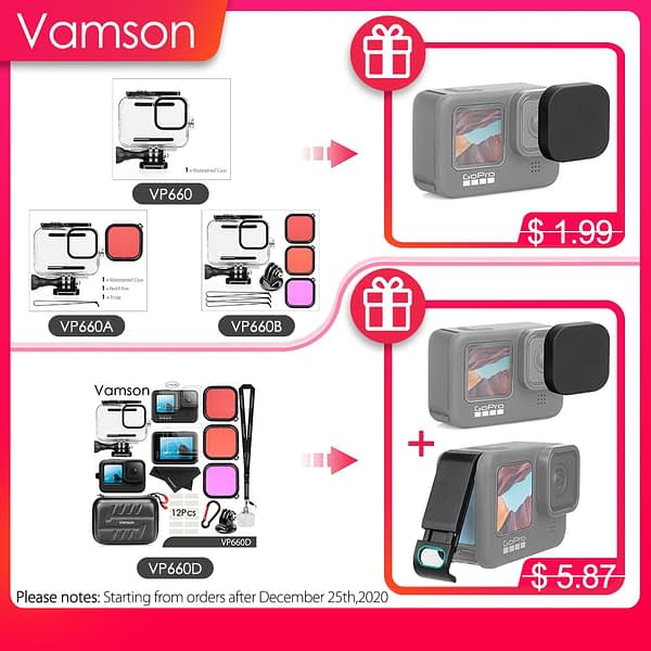 Vamson Waterproof Housing Case for GoPro Hero 9 Black Diving Protective Underwater Dive Cover for Go Pro 9 Accessories VP660