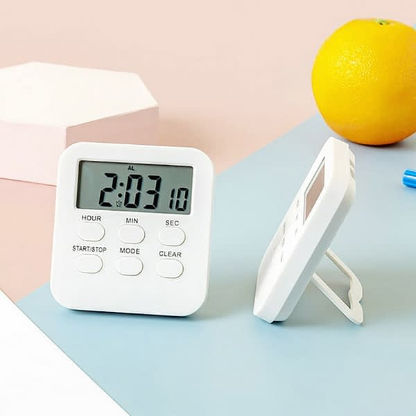 1Pcs With Strong Alarm Multifunction LCD Digital Small Clock White 24 Hour Timer Plastic Countdown Reminder Kitchen Electronic