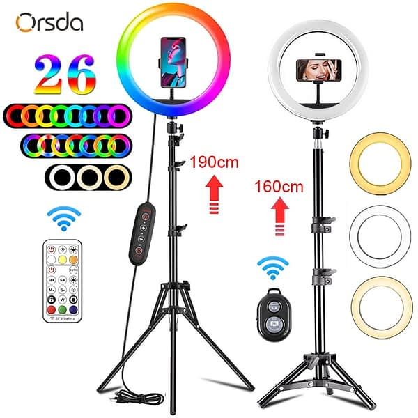 10 inch Led Ring Light Profissional Selfie Ringlight Makeup Lamp Video Studio with Tripod 1.1/1.6/1.9M Stand For Youtube Tik Tok
