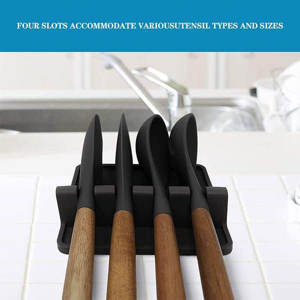 Silicone Utensil Spoon Rest Soup Spoon Holder Support Spoon Stove Organizer Tool Cookware Shelf Kitchen Storage Accessories