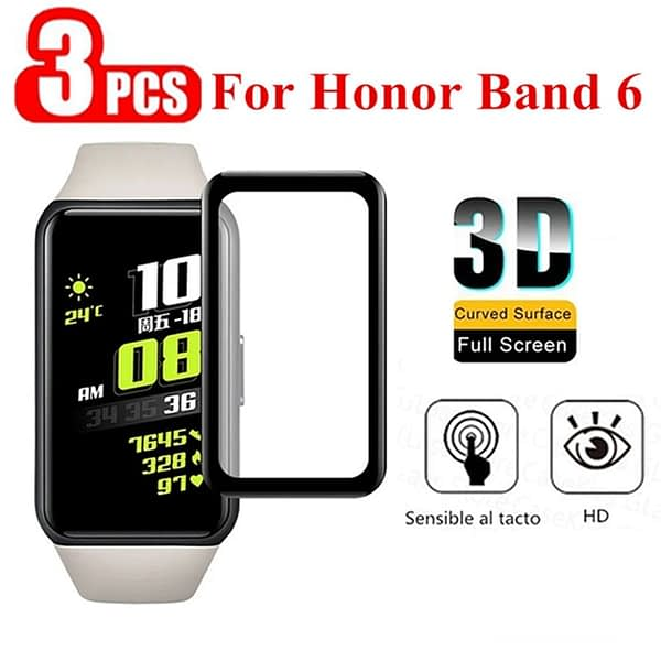 3PCS 3D Protective Film on for Huawei Honor Band 6 Full Curved Edge Screen Protector for honor band6 band 6 soft protective film