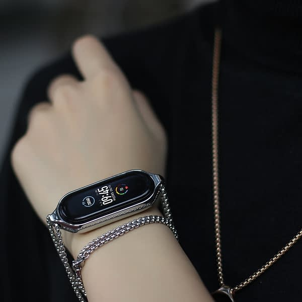 Necklace for Mi Band 5 Strap Pendant for Xiaomi Mi Band 5 Metal Bracelet Wristband for Miband 5 Band Hanging Neck Decoration