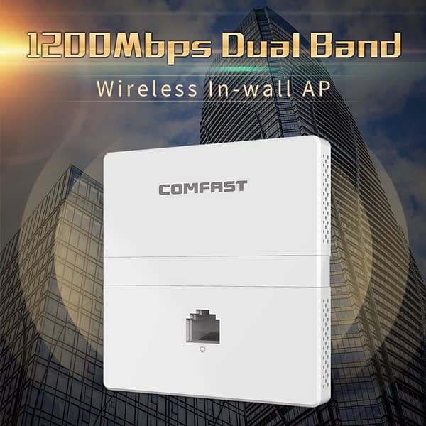 1200Mbps Wireless in wall AP 2.4G+5Ghz dual band access point AP for hotel with gigabit WAN LAN RJ45 Port 48V POE ac wifi Router