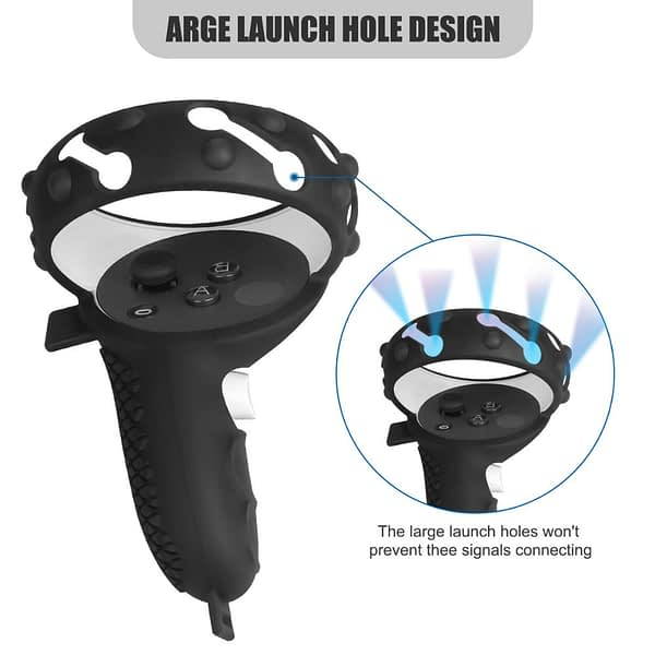 3in1 Touch Controller Silicone Grip Ring Cover+Adjustable Hand Strap +Thumb Caps for Oculus Quest 2 VR Protective Accessories