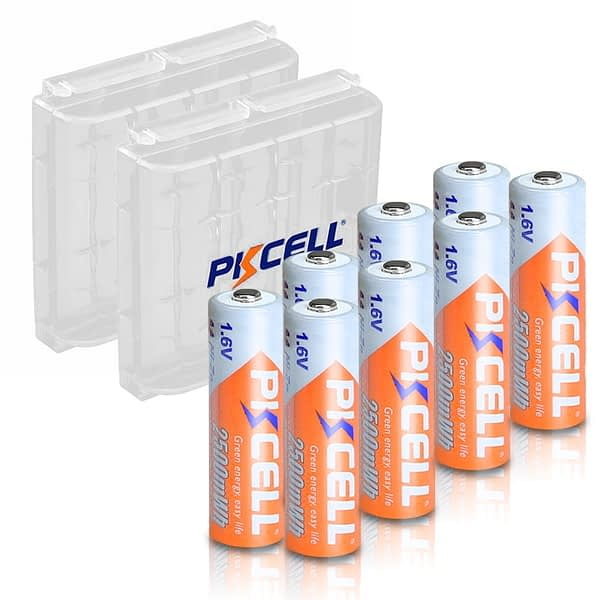 8PCS PKCELL AA 2500mWh 1.6V Ni-Zn Rechargeable Battery aa NIZN batteries 2A and 2PCS nizn Battery holder box cases for camera