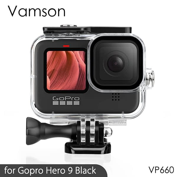 Vamson Waterproof Housing Case Tempered Glass for GoPro Hero 9 Black Dive Protective Underwater for Go Pro 9 Accessories VP660