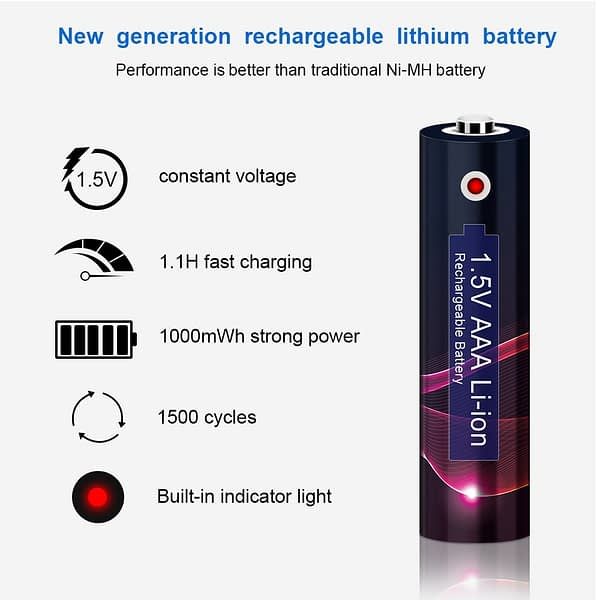1.5v AAA Lithium Li ion 1000mWh Rechargeable Battery aaa Batteria 1.5v Li-ion Batteries Rechargeable aaa lithium li ion batteria