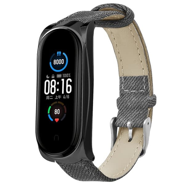 Bakeey Buckle Style Denim Pattern Retro Replacement Leather Strap Smart Watch Band For Xiaomi Mi Band 5 Non-original
