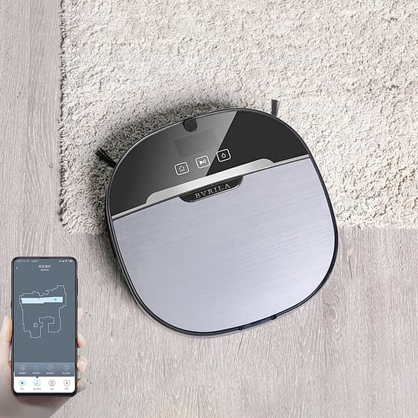 BVRILA NV-01W Smart Ultra Slim Robot Vacuum Cleaner Home Cordless Fully Automatic Vacuum Cleaner 2200 Pa Suction,Map Navigation