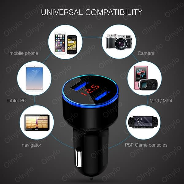 3.1A Dual USB Car Charger Fast Charging With LED Display Universal Adapter For Huawei Samsung Mobile phone Aluminum Car-Charger