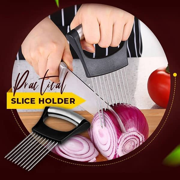 Food Slice Assistant Stainless Steel Onion Needle Onion Fork Vegetables Fruit Slicer Tomato Cutter Cutting Safe Aid Holder