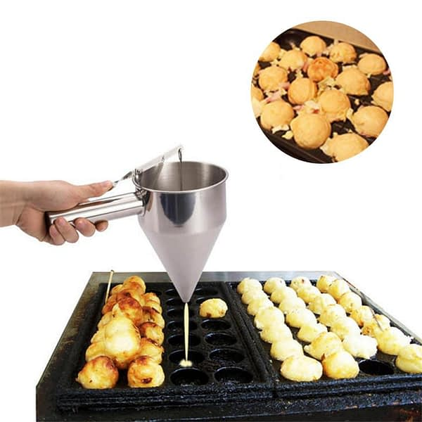 Stainless Steel Plunger Funnel with Funnel Drip Cream Sauce Stand Small Octopus Balls Tool With Rack Baking Cupcake Kitchen tool