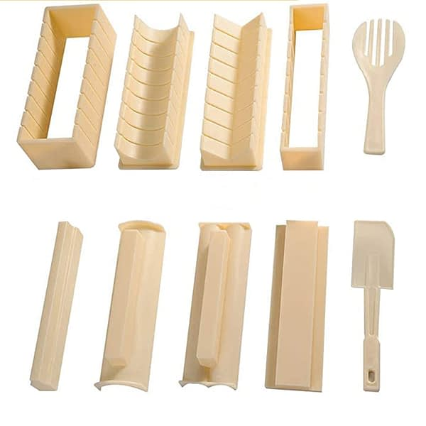 10 Pieces Plastic Sushi Making Kit DIY Home Kitchen Sushi Maker Tool Complete with Sushi Rice Roll Mold Shapes Fork Spatula