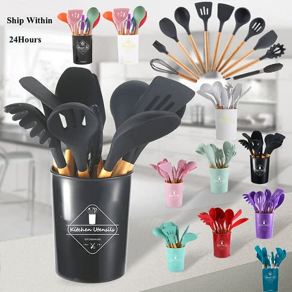12 Pcs Silicone Kitchenware Cooking Utensils Set Kitchen Non-Stick Cooking Utensils Set Baking Tools With Storage Box Tools